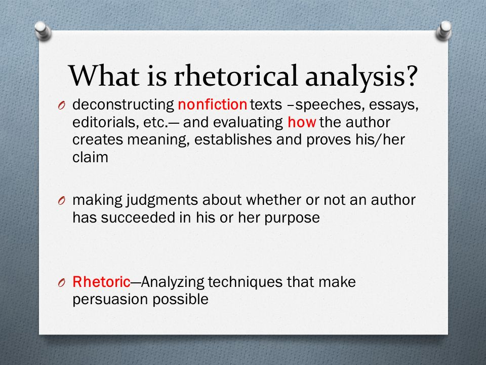 a rhetorical analysis of editorial the Thank you for asking me you've been given excellent answers -- i especially like sheri harper's and john rodriguez' discussion of reading i don't see any article example included, but that doesn&#039t matter -- the basics are the same.