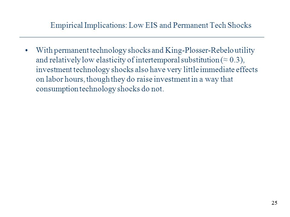 Empirical Implications: Low EIS and Permanent Tech Shocks