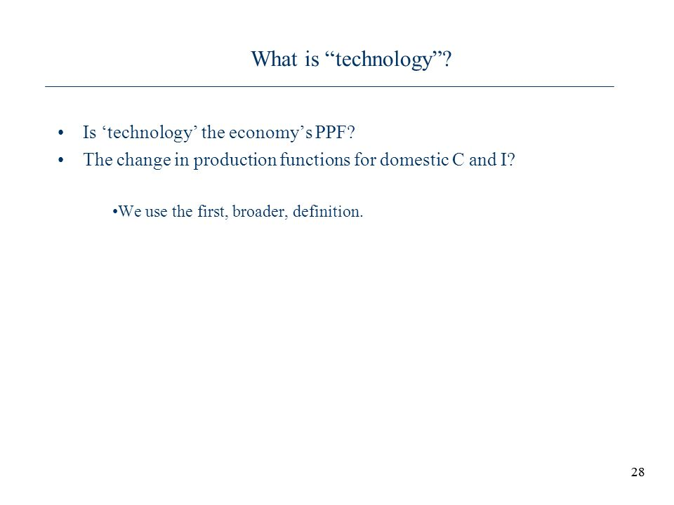 What is technology Is 'technology' the economy's PPF