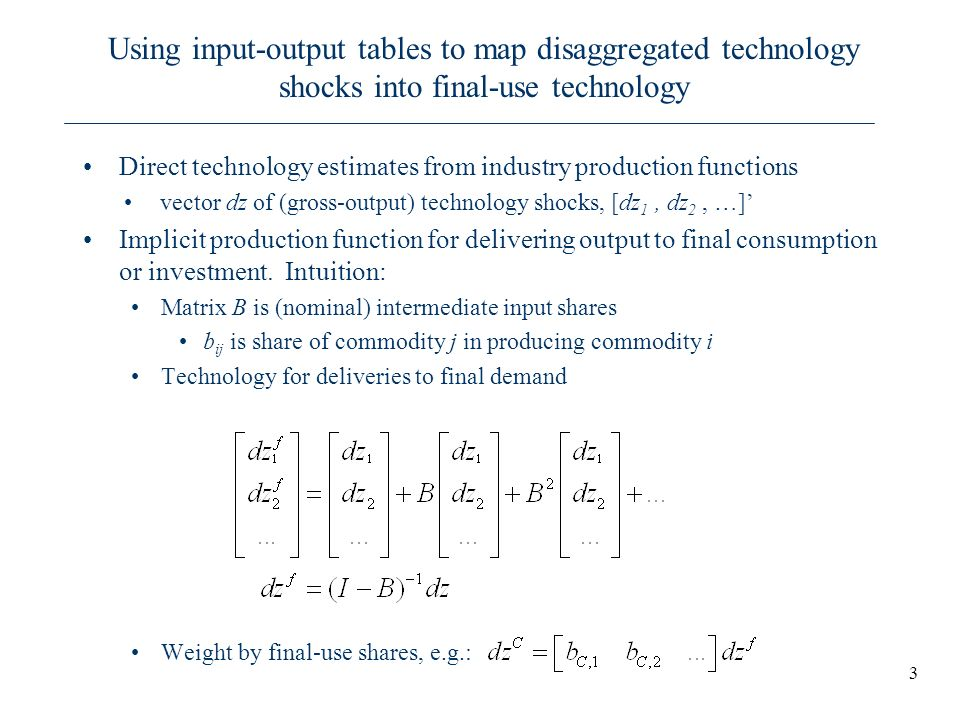 Using input-output tables to map disaggregated technology shocks into final-use technology