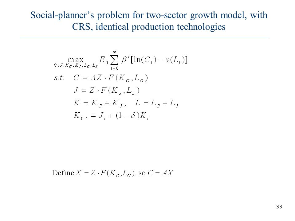 Social-planner's problem for two-sector growth model, with CRS, identical production technologies
