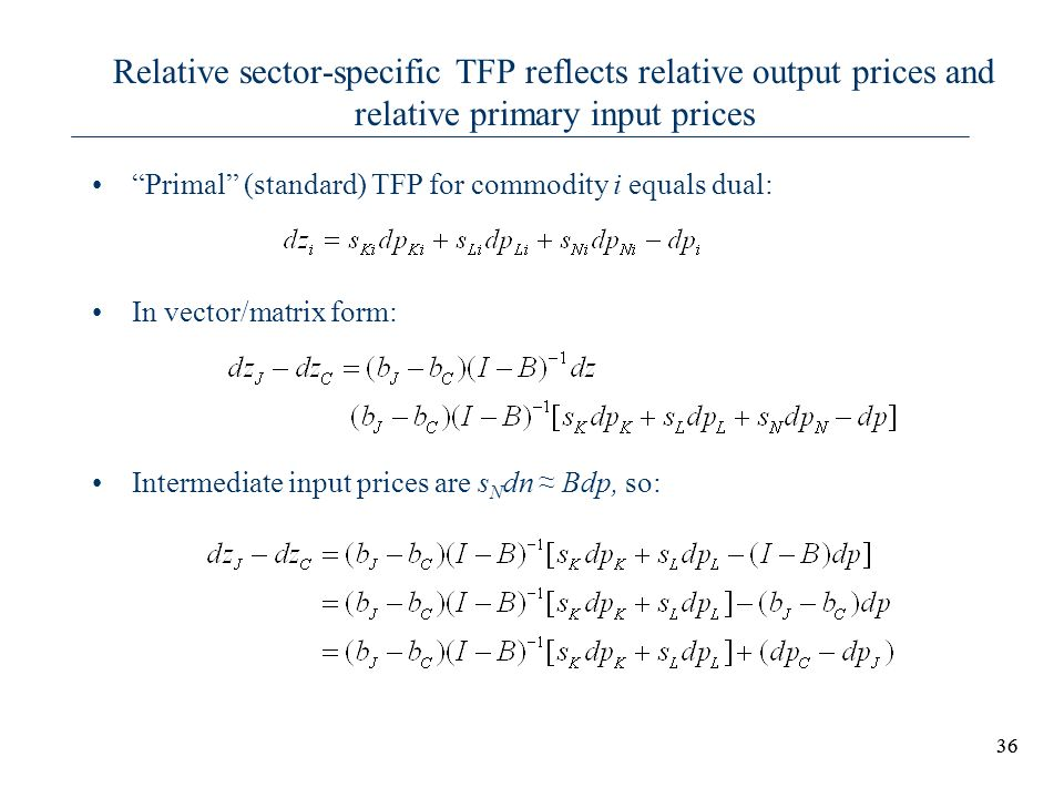 Relative sector-specific TFP reflects relative output prices and relative primary input prices