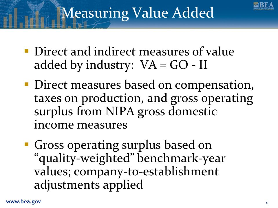 Measuring Value Added Direct and indirect measures of value added by industry: VA = GO - II.