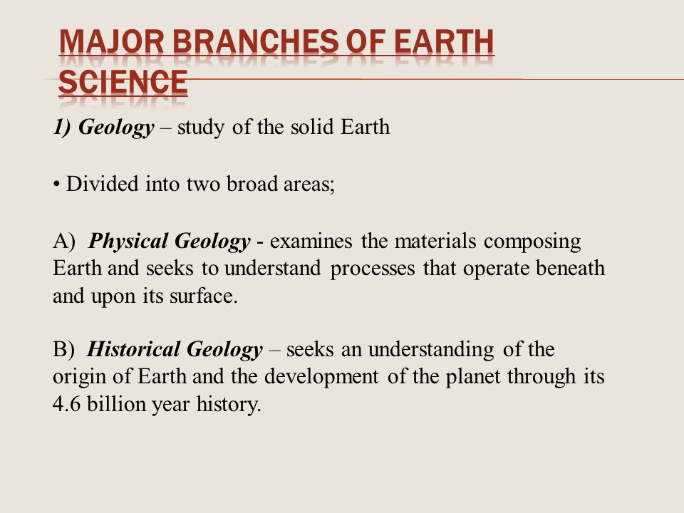 the 5 areas of the study of earth science are - the 5 area