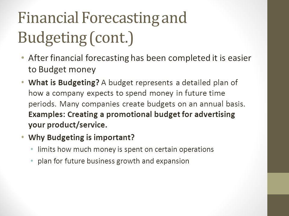 the importance of financial forecasting for the management of a company Internal financial reporting consists of such items as the financial statements, budget variance reports and job financial performance reports that management uses to monitor the company's financial status.