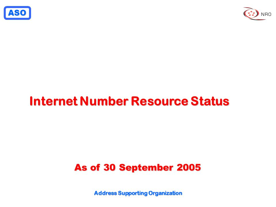 Internet Number Resource Status Address Supporting Organization