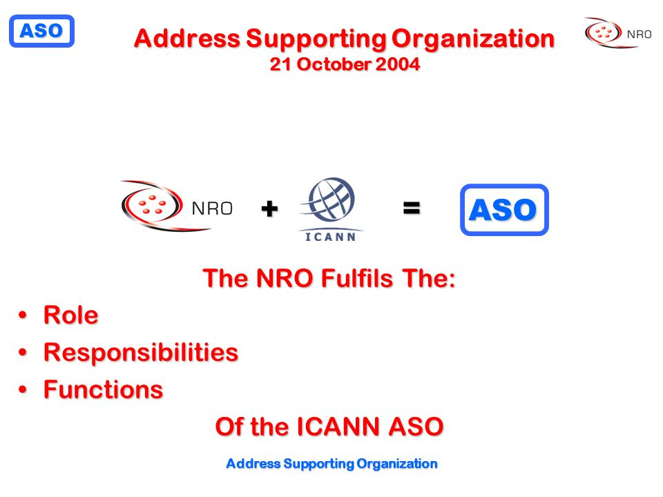 Address Supporting Organization 21 October 2004