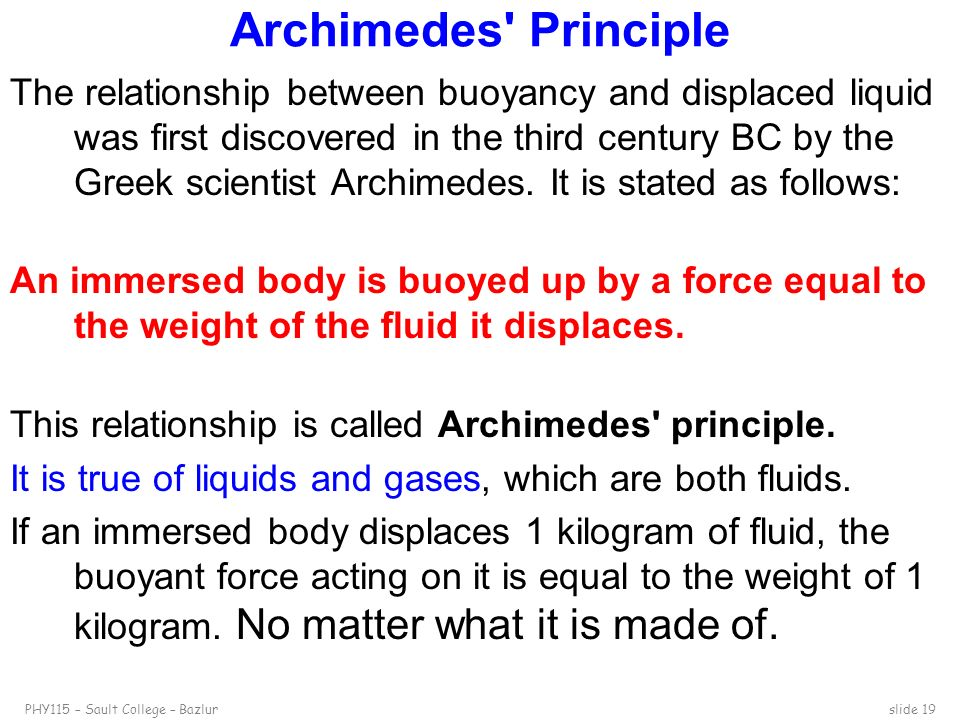 relationship between buoyant force and archimedes principle definition
