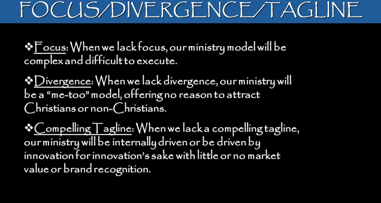 FOCUS/DIVERGENCE/TAGLINE