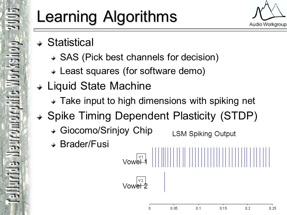 Learning Algorithms Statistical Liquid State Machine