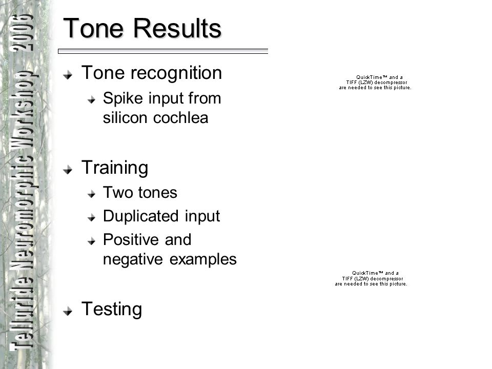 Tone Results Tone recognition Training Testing