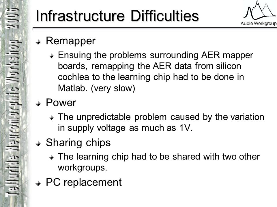 Infrastructure Difficulties