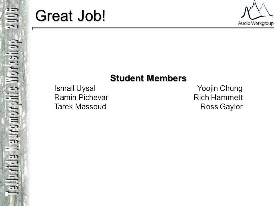 Great Job! Student Members Ismail Uysal Yoojin Chung