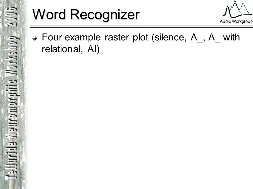 Word Recognizer Four example raster plot (silence, A_, A_ with relational, AI)
