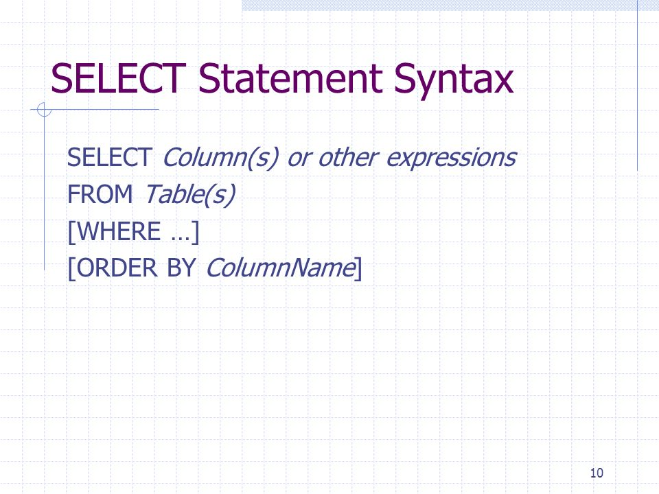 SELECT Statement Syntax