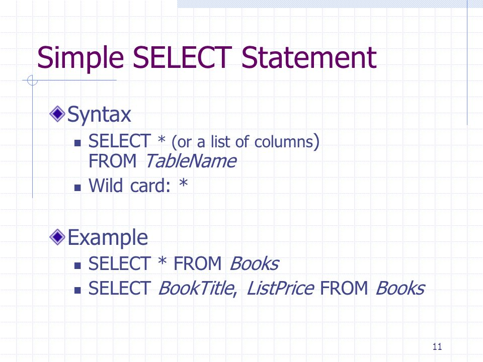 Simple SELECT Statement
