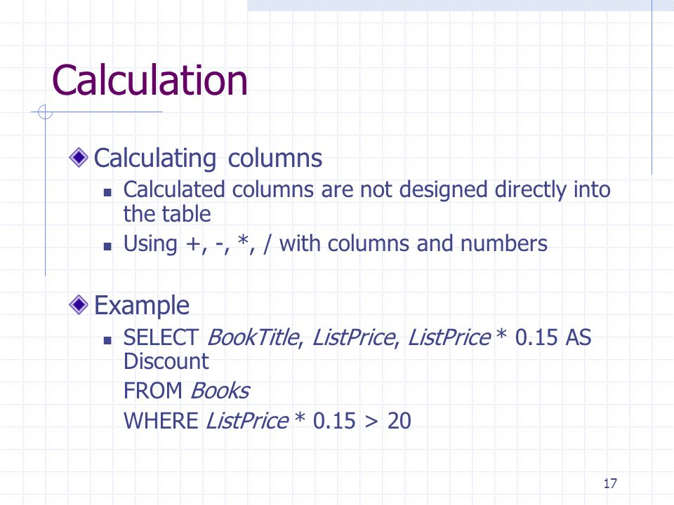 Calculation Calculating columns Example