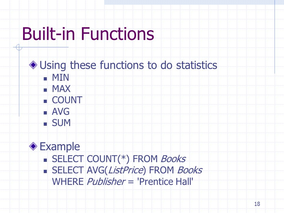 Built-in Functions Using these functions to do statistics Example MIN