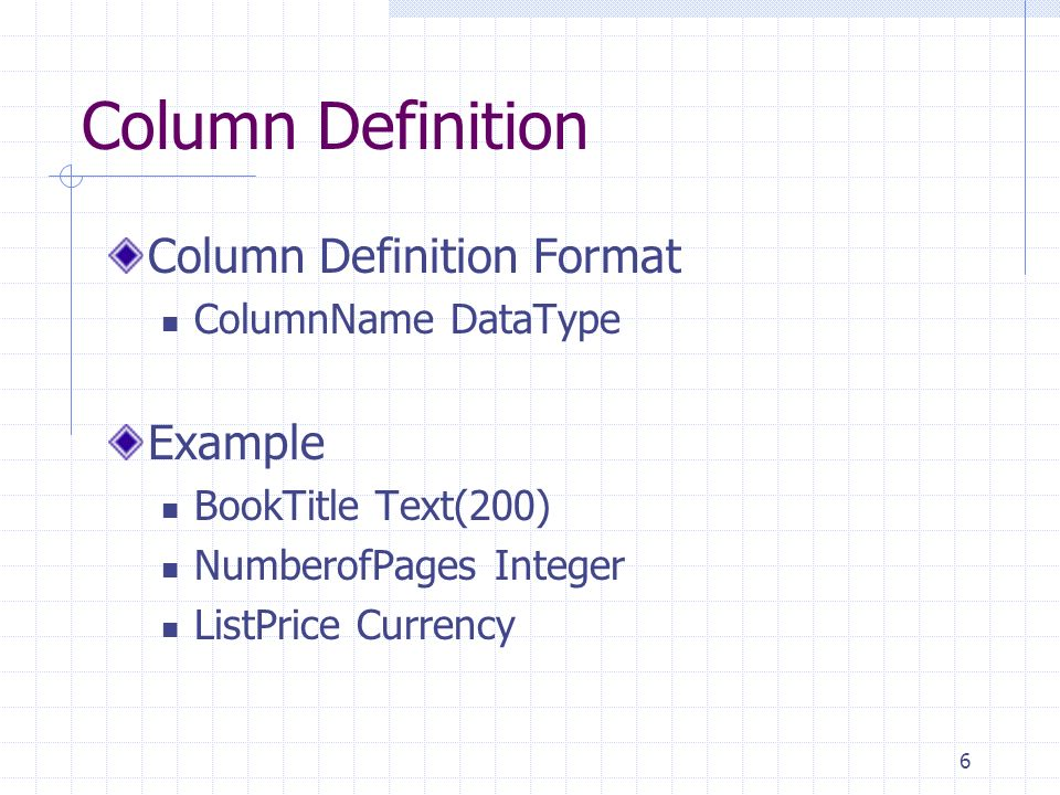 Column Definition Column Definition Format Example ColumnName DataType