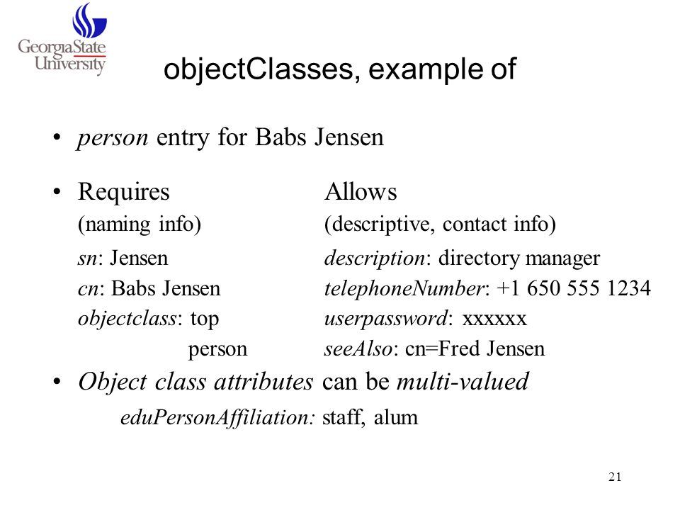 objectClasses, example of