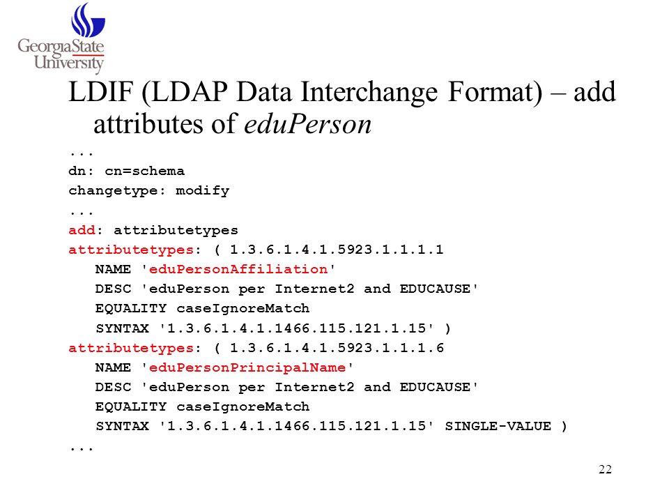 LDIF (LDAP Data Interchange Format) – add attributes of eduPerson