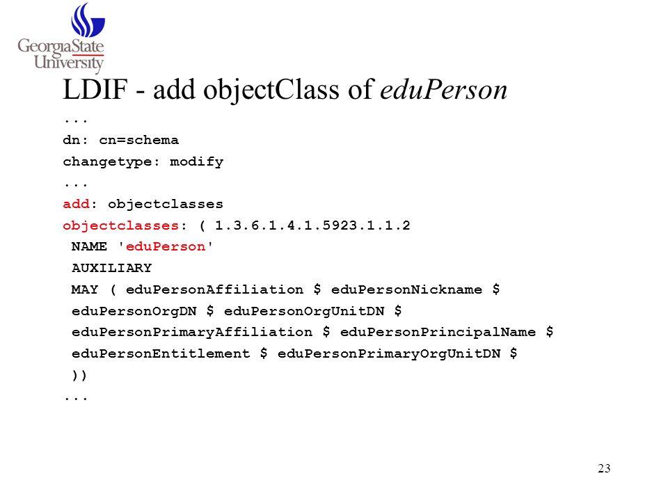 LDIF - add objectClass of eduPerson