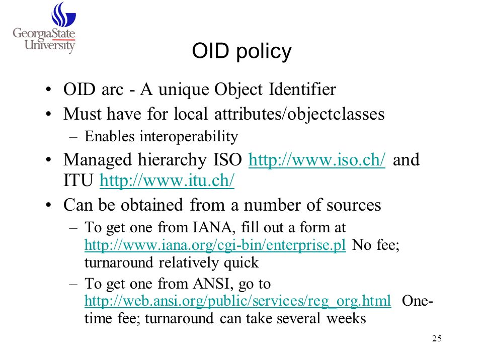OID policy OID arc - A unique Object Identifier
