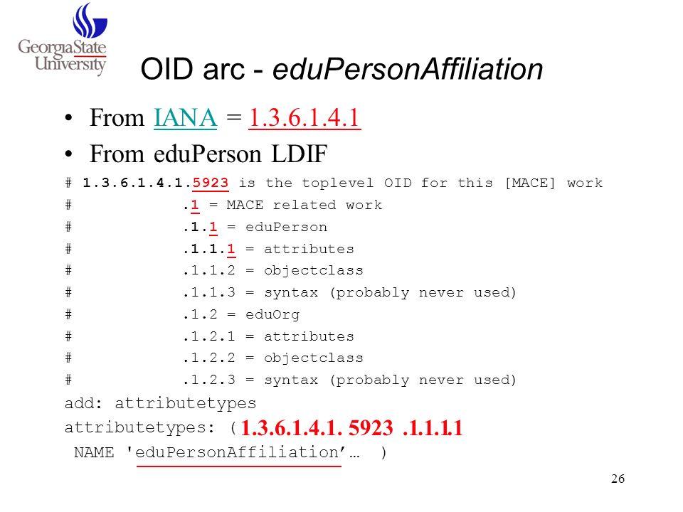 OID arc - eduPersonAffiliation
