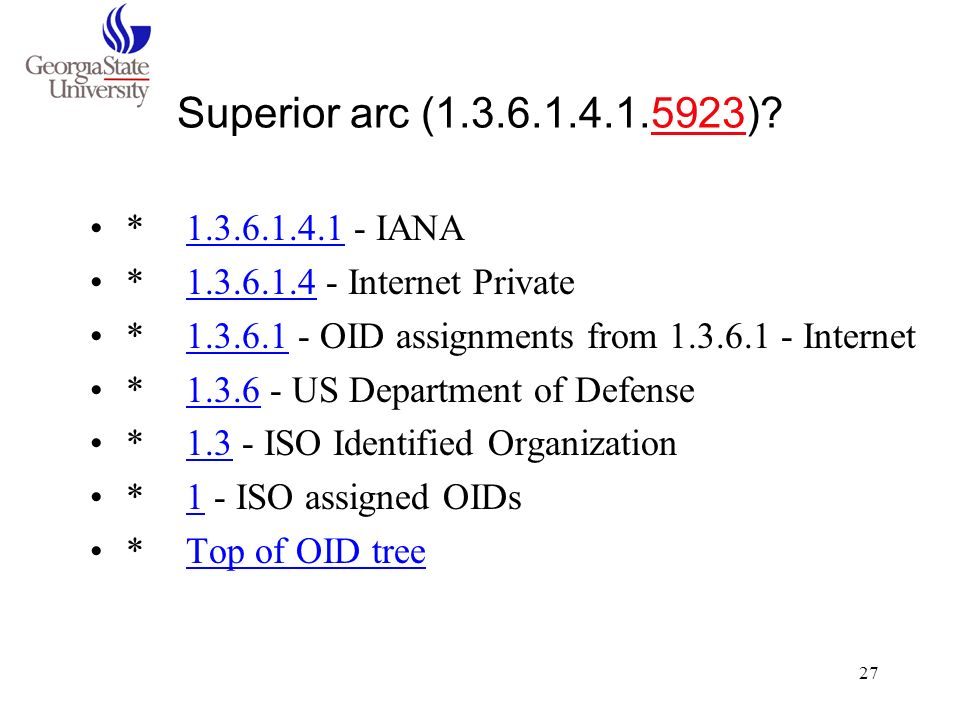 Superior arc (1.3.6.1.4.1.5923) * 1.3.6.1.4.1 - IANA. * 1.3.6.1.4 - Internet Private. * 1.3.6.1 - OID assignments from 1.3.6.1 - Internet.