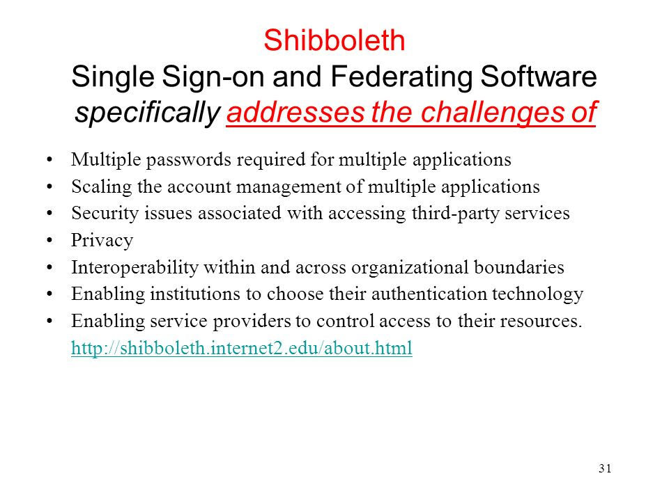 Shibboleth Single Sign-on and Federating Software specifically addresses the challenges of