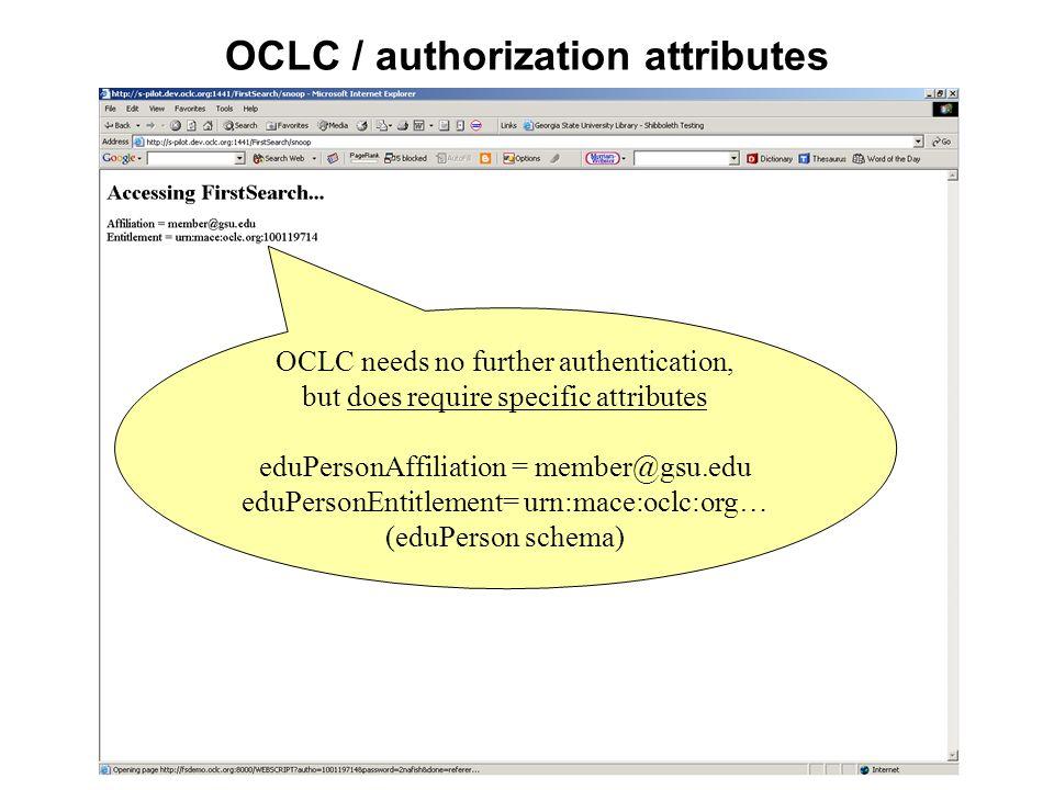 OCLC / authorization attributes