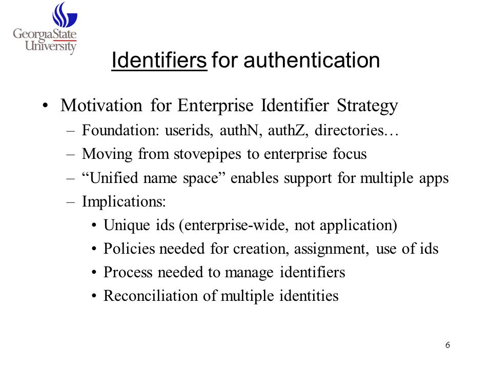 Identifiers for authentication