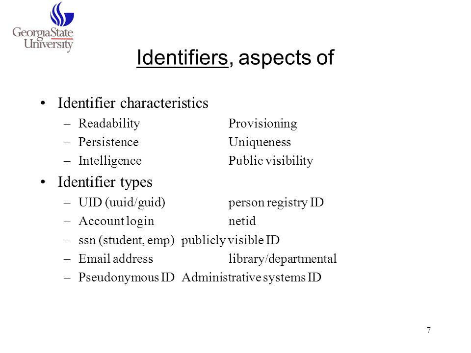 Identifiers, aspects of