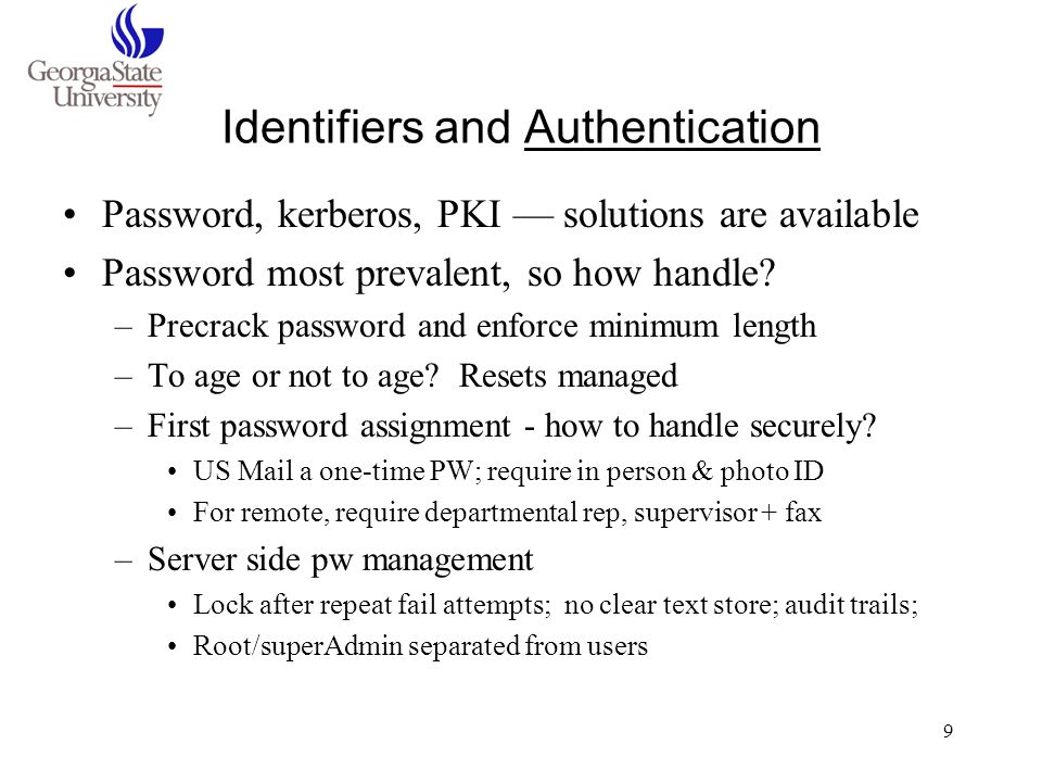 Identifiers and Authentication
