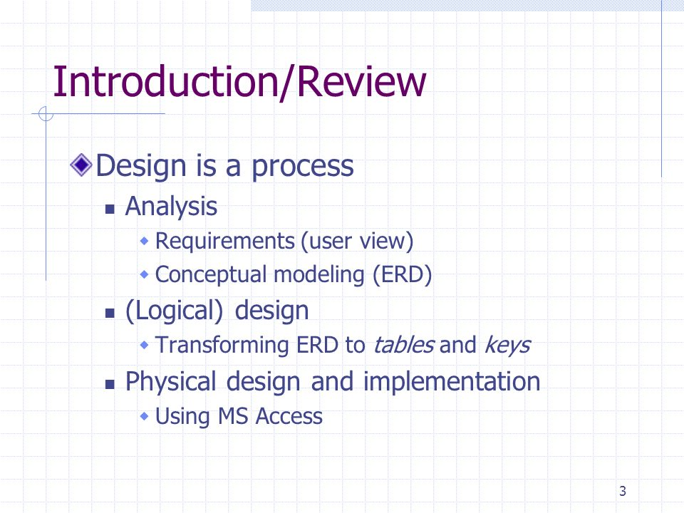 Introduction/Review Design is a process Analysis (Logical) design