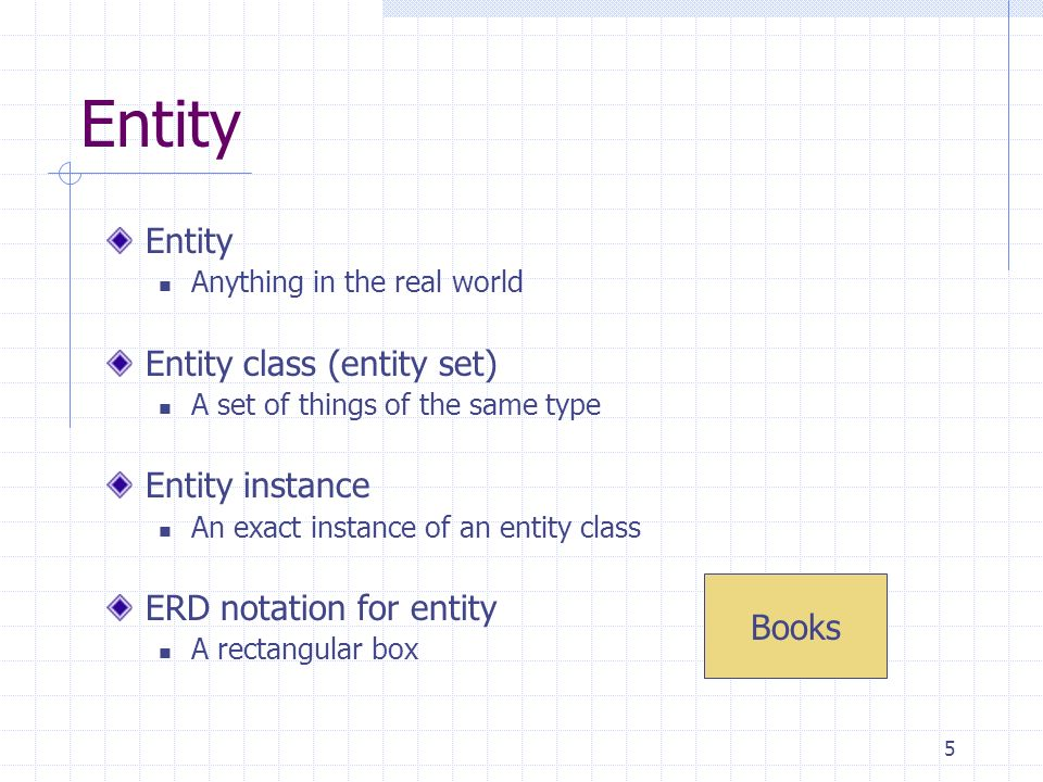Entity Entity Entity class (entity set) Entity instance