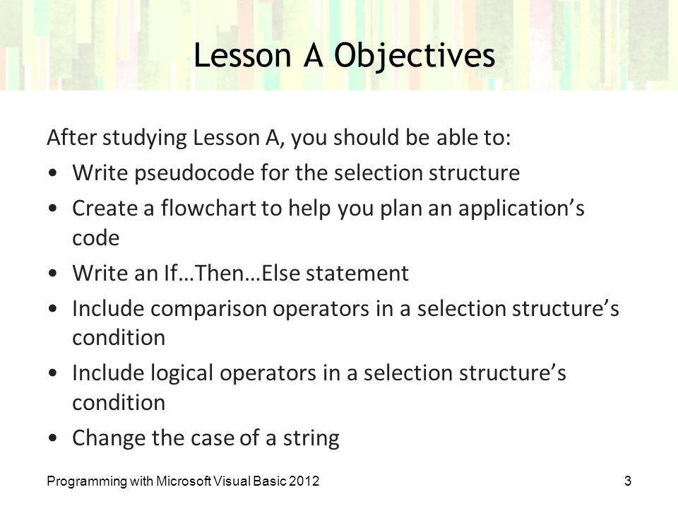 how to write pseudocode for visual basic