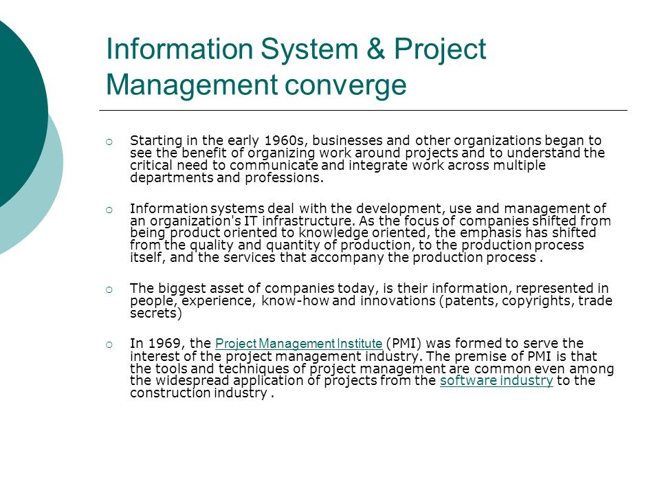 Information System & Project Management converge