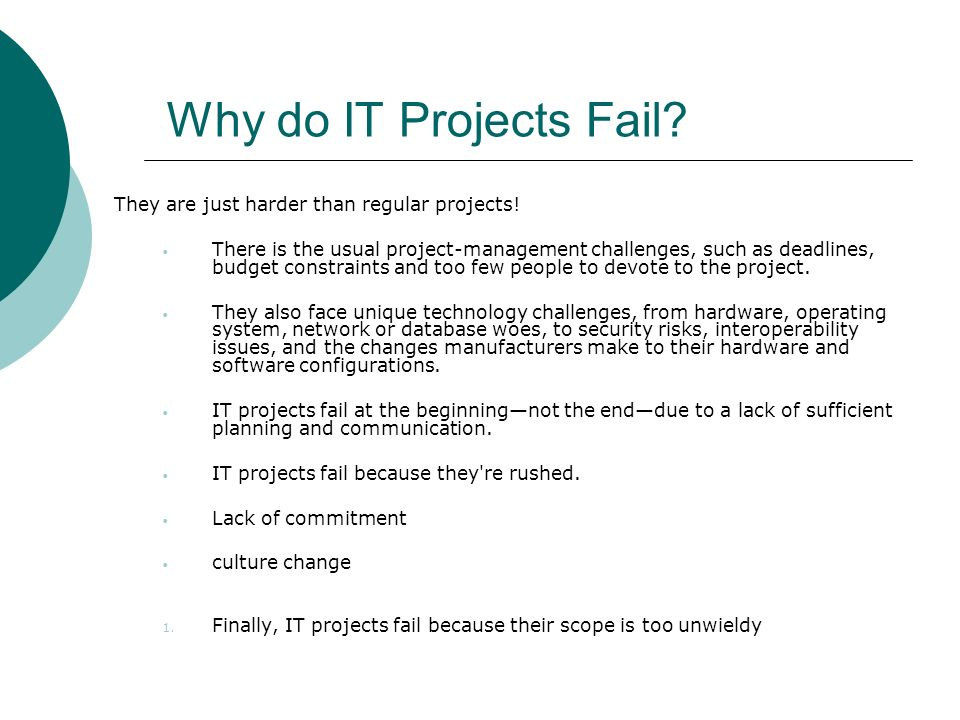 Why do IT Projects Fail They are just harder than regular projects!