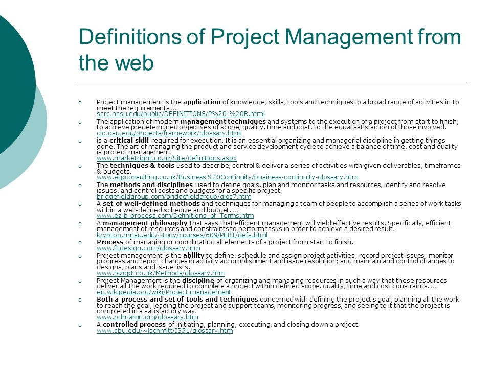 Definitions of Project Management from the web