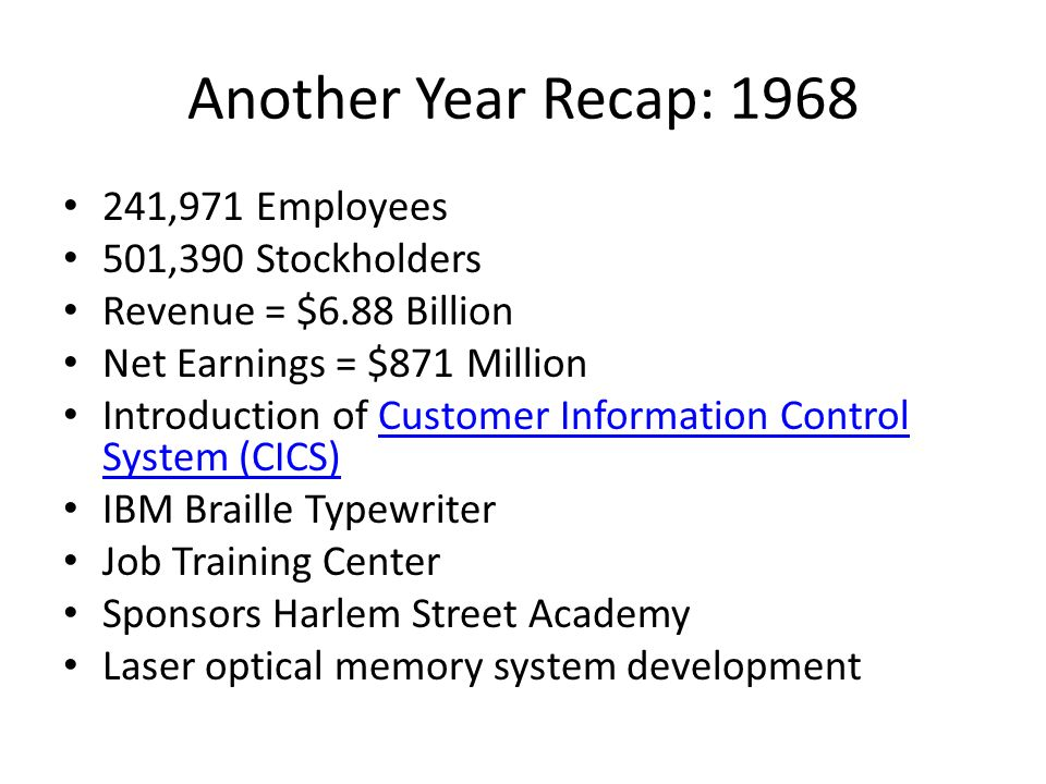 Another Year Recap: 1968 241,971 Employees 501,390 Stockholders