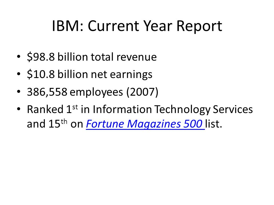 IBM: Current Year Report