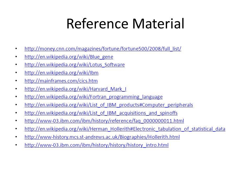 Reference Material http://money.cnn.com/magazines/fortune/fortune500/2008/full_list/ http://en.wikipedia.org/wiki/Blue_gene.