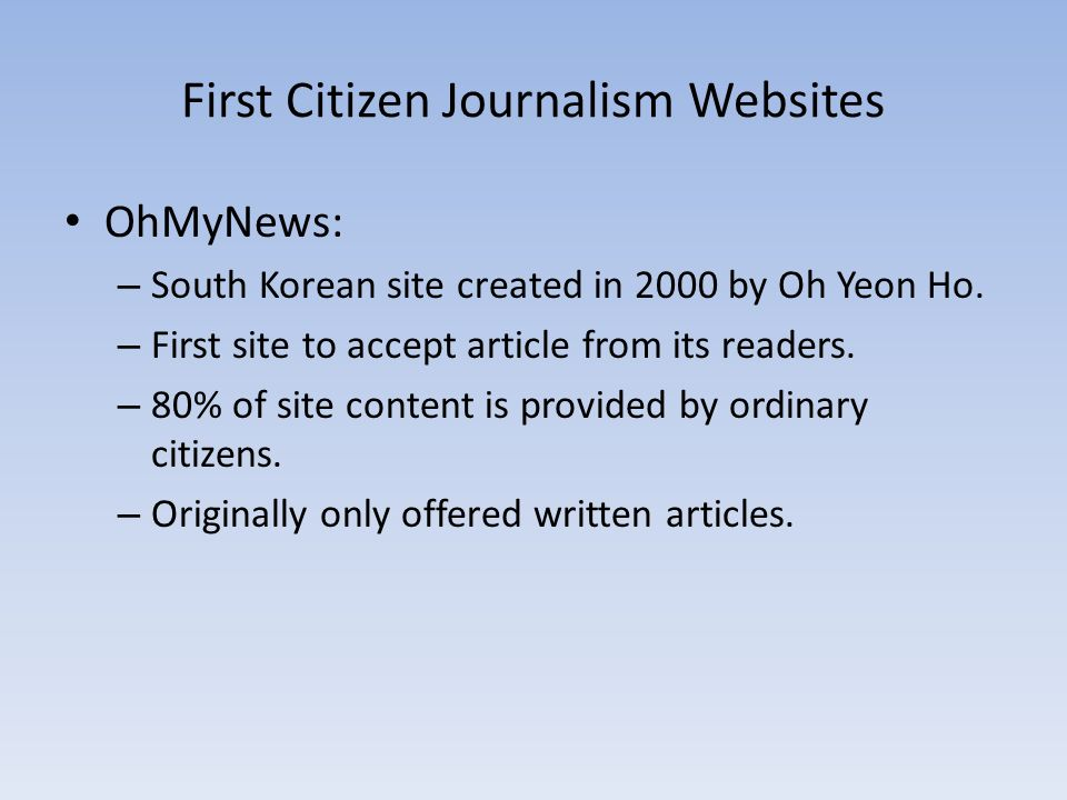 First Citizen Journalism Websites