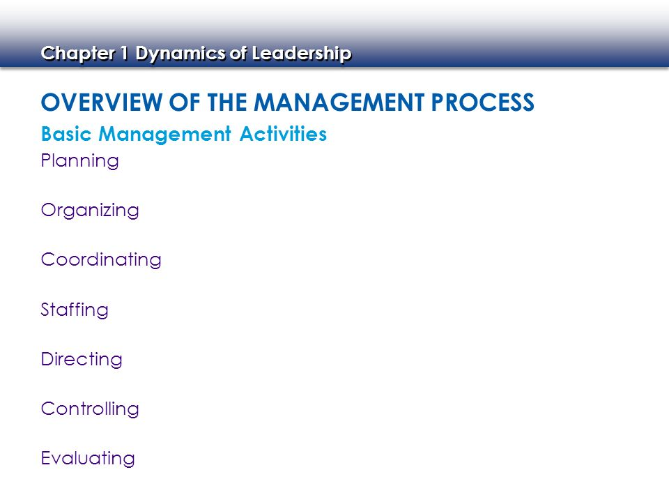 Overview of the Management Process