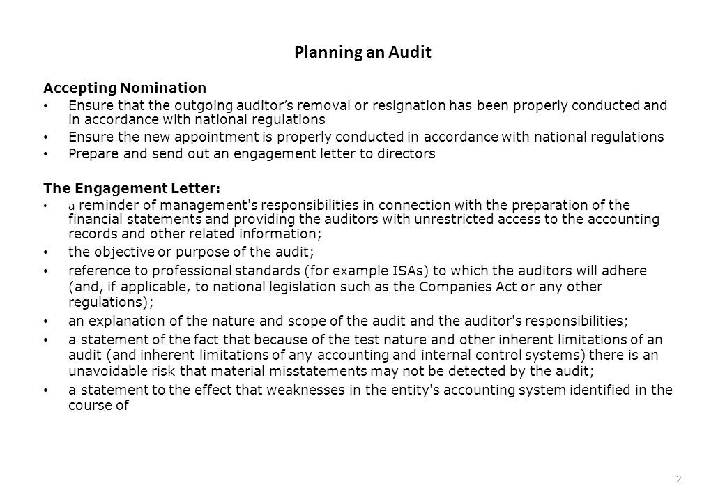 Planning An Audit The Audit Process Consists Of The