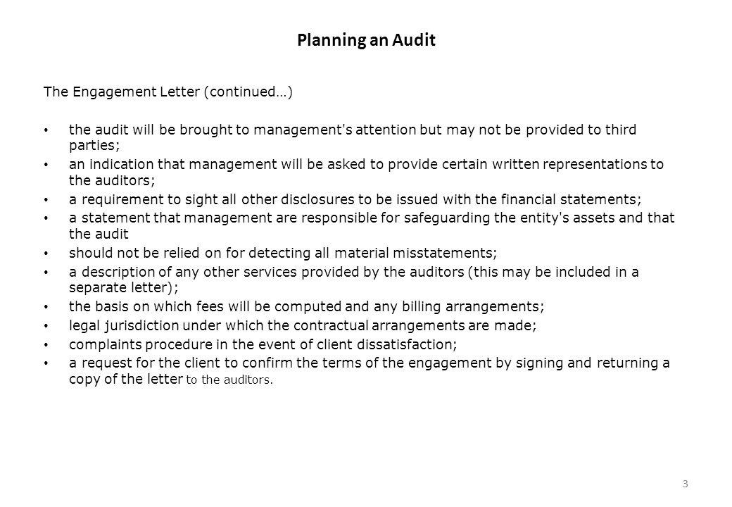 Planning An Audit The Audit Process Consists Of The Following