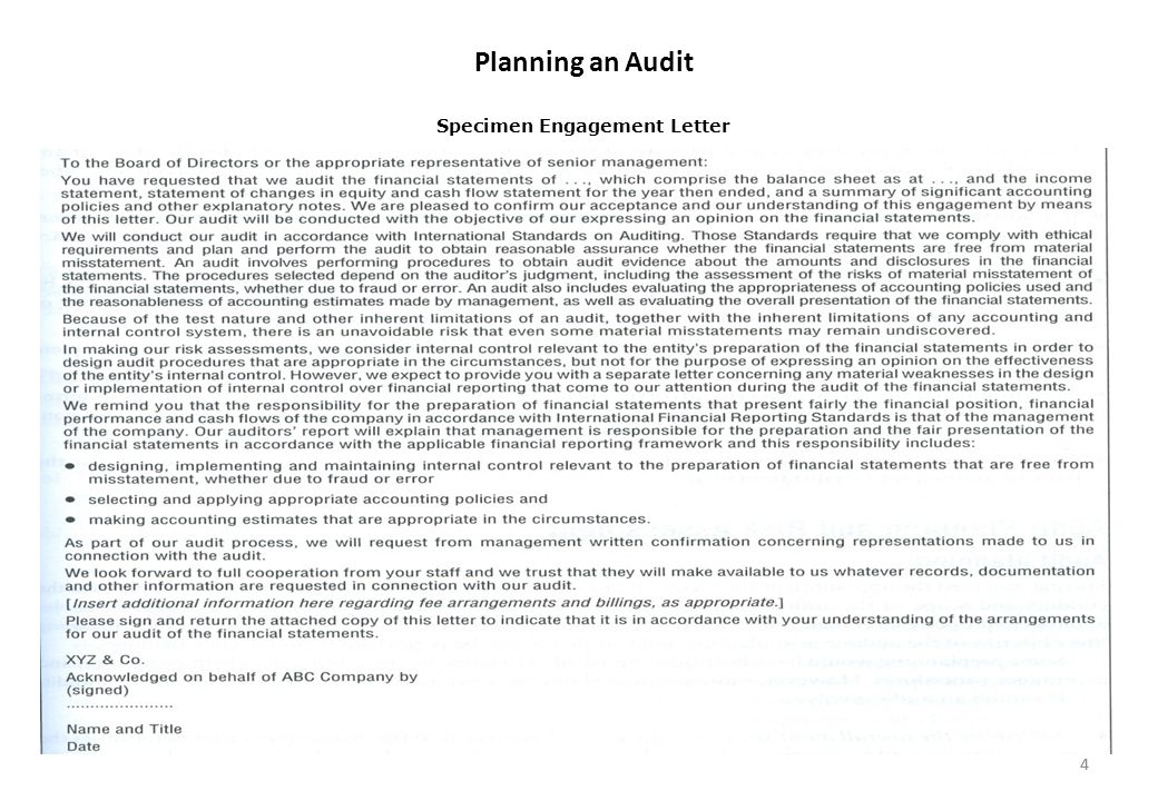audit engagement letter jackson enterprises Making appropriate assignments of significant engagement responsibilities 7/ see paragraph 7b of auditing standard no 8, audit risk, for a definition of.