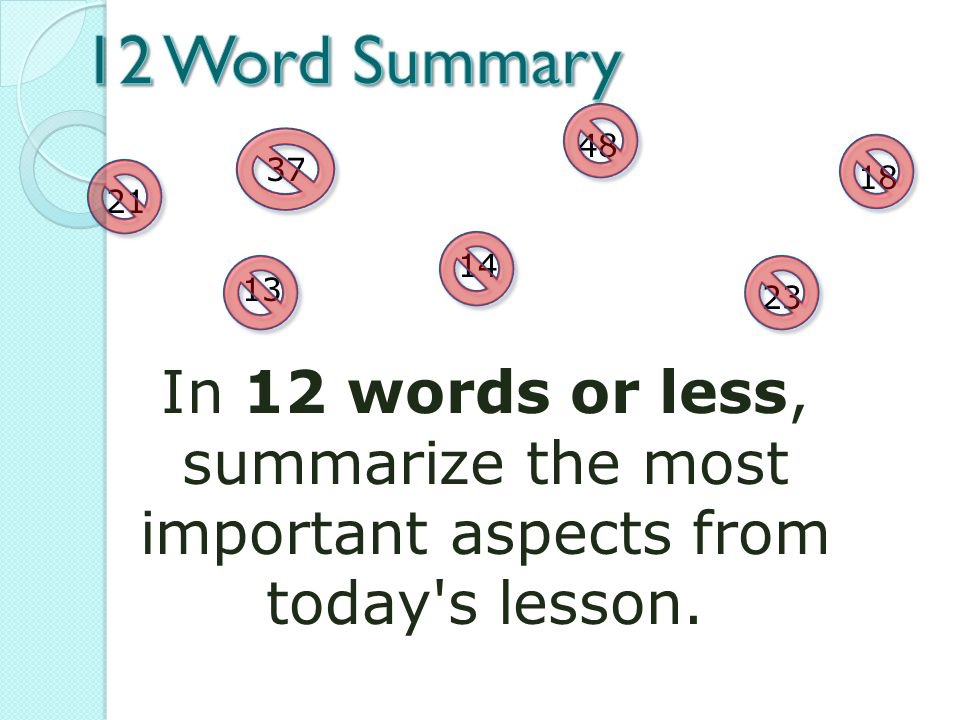 how to write in 25 words or less