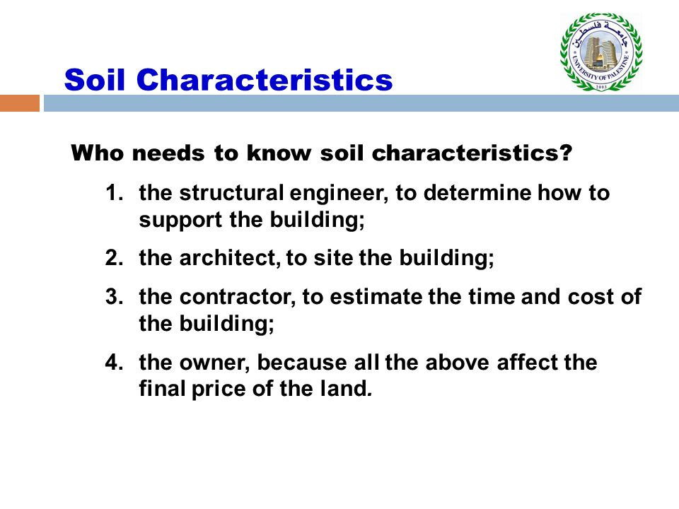 Soil and earth works introduction to construction industry for What are soil characteristics